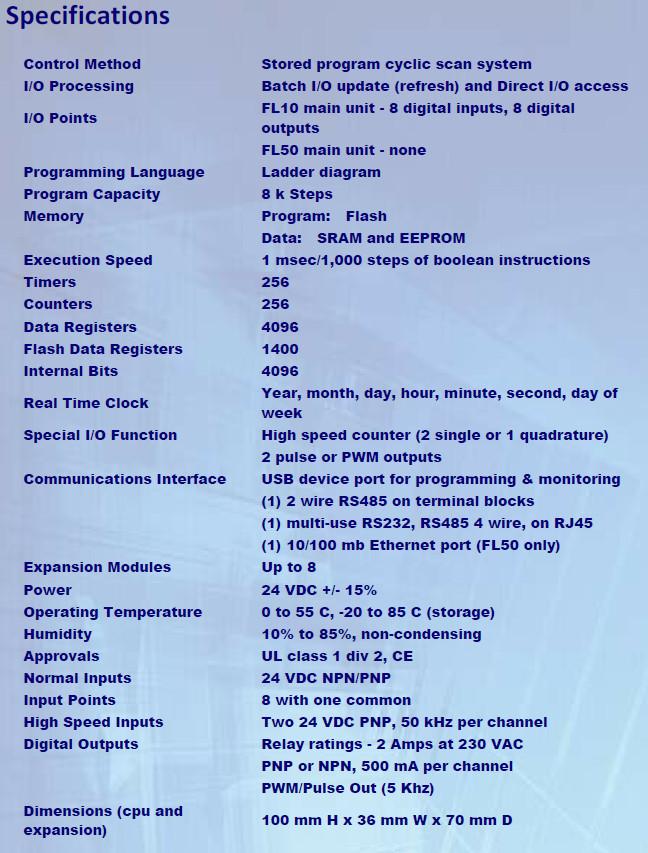 Comoso Product Flexilogics Fl100 Series Plc